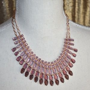 Pink, purple, mauve, rhinestone layered necklace